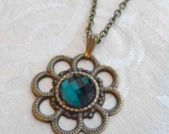 75% Off Sale, Teal, Faceted Glass Necklace