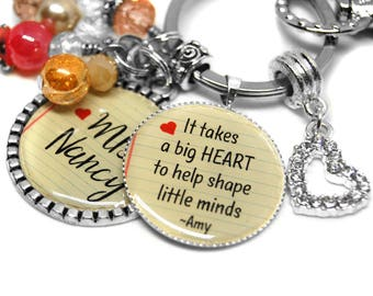 Personalized Keychains for Teachers/Gifts Teachers Really Want/English Teacher/English Teacher Gifts/Takes A Big Heart/Math Teacher Gifts