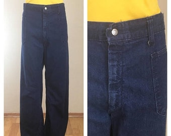30% Off Sale 70s Nav Dungaree High Waist Curved Leg / Wide Leg / Dark Rinse Denim Jeans, Women's Size XL to 1X, Plus Size