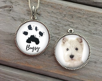 Custom paw print necklace, memorial pet necklace, Dog necklace personalized, pet memorial jewelry, in memory of, actual paw print, dog