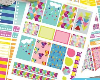 Scandinavian Art  printable planner stickers, Scandinavian Art  BIG MAMBI Happy planner, Weekly Kit, big happy Instant download