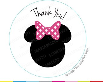 Minnie Stickers, Polka dot bow stickers, Thank you PRINTED round Stickers, tags, Labels or Envelope Seals A1218