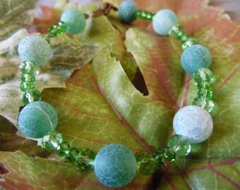 Handmade Beaded Bracelet Green 8 Inches