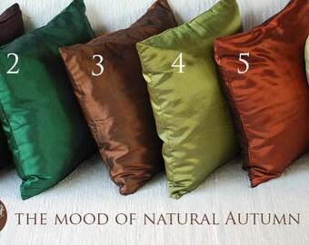 Solid Silk Pillow Cover, Throw Pillows, Silk Cushions, Decorative Throw Pillow, Pillow Case, Couch Bed Sofa Pillows, 15x15 inch