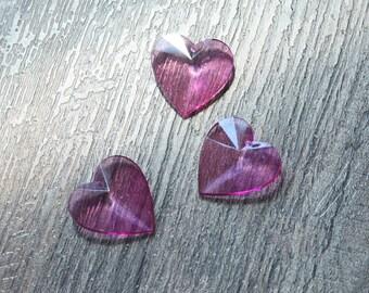 Vintage 1970s Transparent Purple Heart Shape Pendants // Faceted Jelly Love