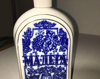 "Lomonosov Flow Blue Porcelain Gold Trim Nautical and Grapes Bottle 9"" High"