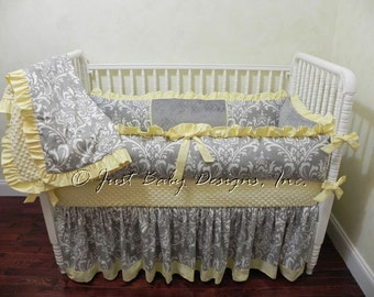 Baby Crib Bedding Set Lizzie - Girl Baby Bedding, Gray and Yellow Baby Bedding
