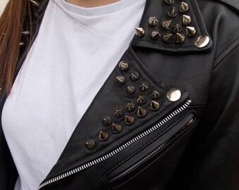 womens leather jacket studded black leather biker jacket