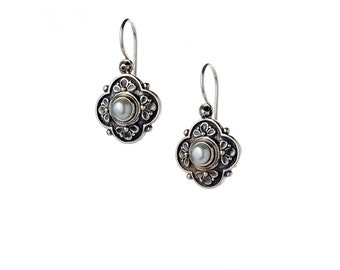 Byzantine sterling silver earrings with freshwater pearls, antique style