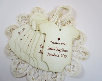 Personalized Onesie Thank You Favor Tags, Custom Party Gift Tags, Custom Shower Tags