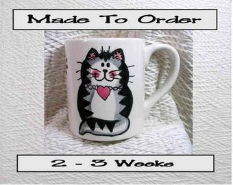 Cat Mug Gray Striped Tabby With Heart Handmade To Order Earthenware Ceramic by GMS