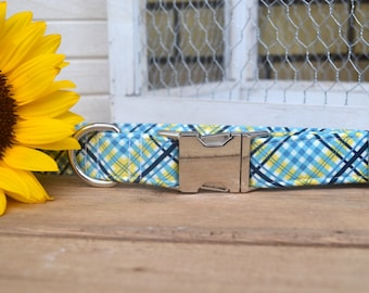 Blue Plaid Dog Collar, Plaid Pet Collar, Fall, Blue and Yellow, Male Dog Collar, Autumn Dog Collar, Metal Buckle