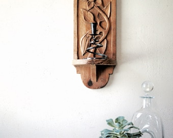 Vintage Carved Wall Shelf from Mexico Mid Century Modern Flower Design Boho Chic Home Decor Display