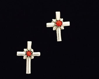 Native American Navajo Coral & Sterling Silver Religious Cross Earrings