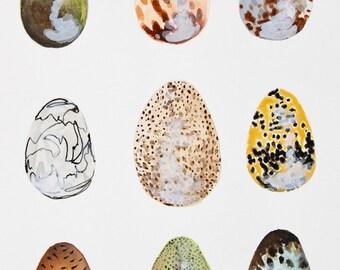 Dinosaur Eggs Original Watercolor Painting // Original Art