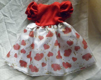 """Red and White valentine heart dress for 18"""" doll"""