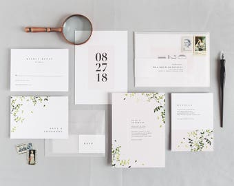 Anna Wedding Invitation & Correspondence Set / Simplistic Greenery, Modern Accents and Minimalist Design / Sample Set