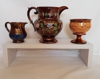 Set of 3 Victorian Copper Lustre Jugs and Goblet - Antique Copper Lustre