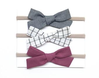 Baby Headband Bows - Chambray White Grid Plum - Baby Headband - School Girl Bows