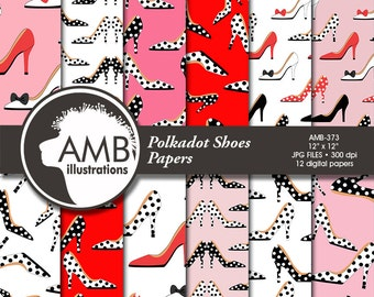 Shoe digital papers, High Heel digital papers, Polkadot Backgrounds Fashion papers, scrapbook, commercial use, AMB-373