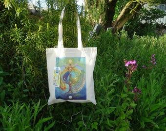 Tote Bag, Shopping Bag, Reusable Bag, Cotton Bag, Spiritual Gifts, Deer Medicine, Elen of the ways, World tree, Labyrinth, Celtic Art, Eco