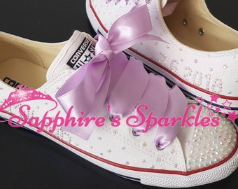 Silver Bling Crystal Customised Wedding Bride Lilac Bling Sparkly White Dainty Slim Converse