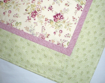 Baby quilt, Cottage chic, Nursery, baby blanket, Pink and Green, Floral quilt, Cotton, 38x48 inches, baby shower, baby girl quilt
