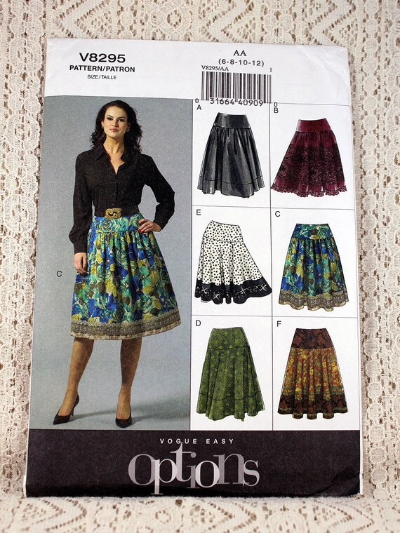 Vogue 8295, Misses\'/Misses\' Petite Skirts Sewing Pattern, Easy Skirt ...