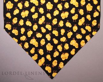 Yellow Peeps Small Easter Table Runner, Small Chicks on Black, Easter Decor, Table Accents