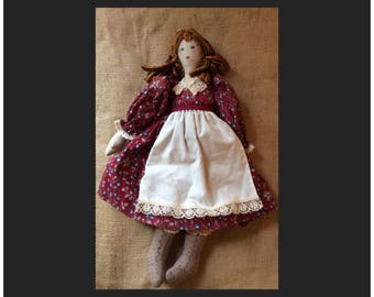 Handcrafted Female Doll Red Hair Braids Floral Dress Eyelet Apron Petticoat hand sewn gift present collectible collection decoration