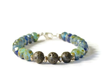 Natural Lava Rock & Czech Glass Aromatherapy Diffuser Bracelet,  Essential Oil Jewelry