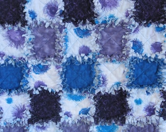 "Rag Quilt,Rag Quilt for Sale, Blue and Purple Fireworks, Rag Lap Quilt, Handmade, Unique, Approx 47"" x 43"" Ready to Ship"