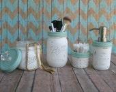excellent nautical bathroom accessories | Items similar to Nautical, beach mason jar bathroom set ...