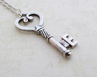 Silver Skeleton Key Necklace, Silver Key Necklace, Sterling Silver, Gift for Her, Key Pendant, anniversary gift
