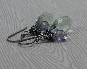 Green and Pink Amethyst Earrings Prasiolite Briolette Oxidized Sterling Silver Large Gemstones February Birthstone Jewelry
