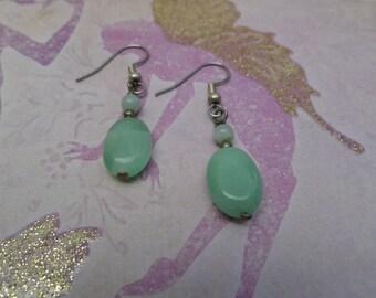 Amazonite and Jade Drop Earrings-Willow