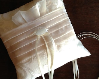 NEW:  Ivory Brocade, Organza, and Vintage Button Adorned Wedding Ring Pillow