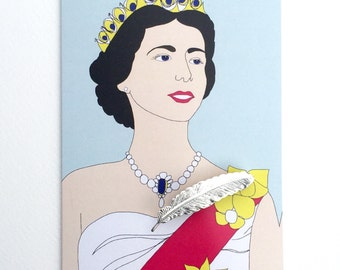 Her Majesty Queen Elizabeth Greetings card /  feather  brooch