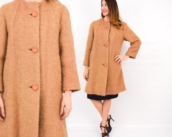 60s Tan Wool Coat | Camel Mohair Winter Coat | Medium Large