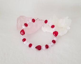 Valentine's Heart Red And Pink Crystal Bracelet With A Sterling Silver Clasp Made With Swarovski Crystals
