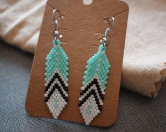 Sea Green Feather Earrings