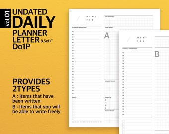 v01. Letter Size Daily Planner / Printable Planner Insert Binder, Notepad / Undated Daily Planner / Daily Journal / Daily Scheduler