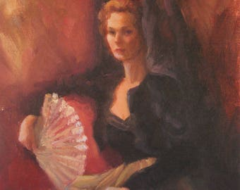 "Figurative, Portrait, Spanish Woman, Figure, ""Dona Marisa"", original oil painting, by Sherri Aldawood, 11""x14"""