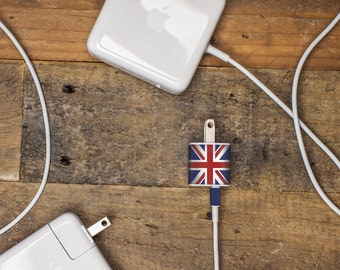 iPhone Charger Decal, Union Jack/British Flag Design - Tech accessory gift for anglophile