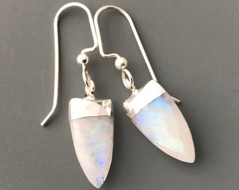 Moonstone Earrings, Gemstone Earrings, Everyday Earrings, Simple Earrings, Handmade Earrings, Dangle Earrings, Boho Earrings