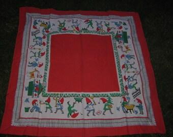 Vintage Holiday Christmas Swedish Tablecloth