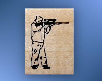 SHOOTER Standing, Hunting / Shooting mounted rubber stamp, rifle, gun, deer season, masculine, man, Father's Day, Sweet Grass Stamps No.14
