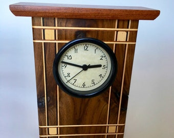 Arts and Crafts Style Walnut and Mesquite Wooden Clock