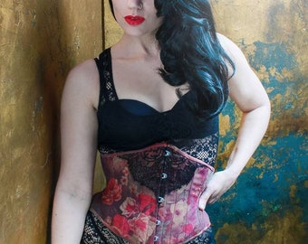 Muted Floral and lace corset, size 24""