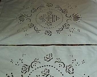 wonderful antique Richelieu embroidery curtains